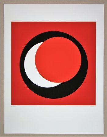 Сериграфия Claisse - Cercle rouge sur fond rouge foncé