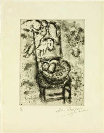 Гравюра Chagall - Chaise à la corbeille de fruits