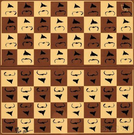 Сериграфия Arman - Chessboard in Hommage to Marcel Duchamp's L.H.O.O.Q.