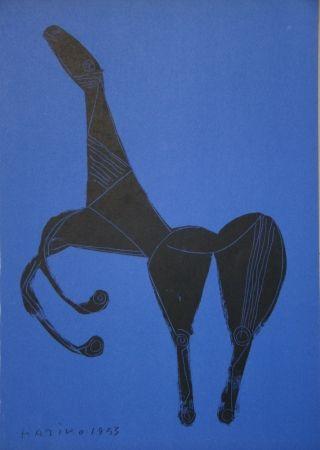 Литография Marini - Cheval sur fond bleue