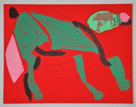 Литография Marini - Cheval sur fond rouge