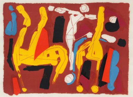 Литография Marini -  Chevaux et cavalier V, 1974