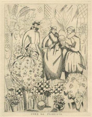 Офорт Laboureur - Chez la floriste (fleuriste)