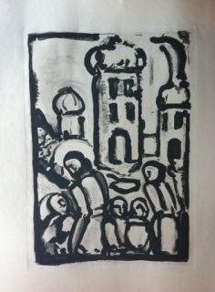 Офорт И Аквитанта Rouault - Christ among the poor