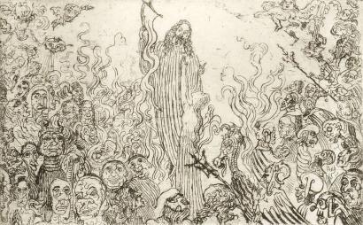 Офорт Ensor - Christ descendant aux enfers