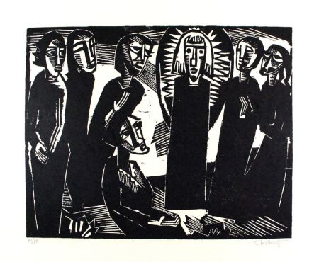 Гравюра На Дереве Schmidt-Rottluff -  Christus unter den Frauen / Christ among the Women