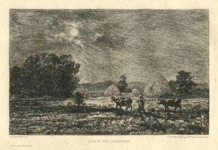 Гравюра Daubigny - Clair de lune à Valmondois