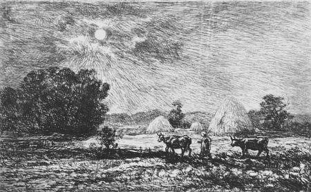Офорт Daubigny - Clair de lune a Valmondois