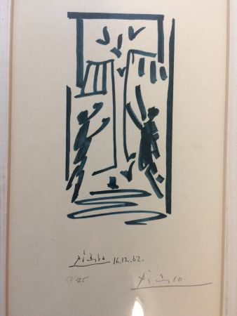 Литография Picasso - Colombes et prisonniers (pour les exiles espagnols)