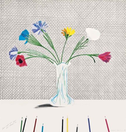 Литография Hockney - Coloured Flowers Made Of Paper And Ink