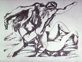 Литография Zadkine - Combat avec l'Amazone Hippolyte