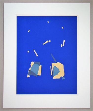 Литография De Stael - Comosition sur fond bleu