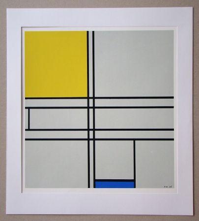 Сериграфия Mondrian - Compositie met blauw en geel - 1935