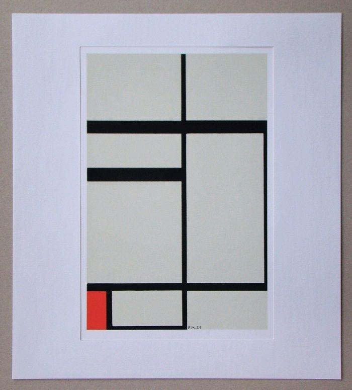 Сериграфия Mondrian - Compositie met rood - 1931