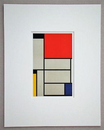 Литография Mondrian - Compositie met rood, geel, blauw, zwart en grijs