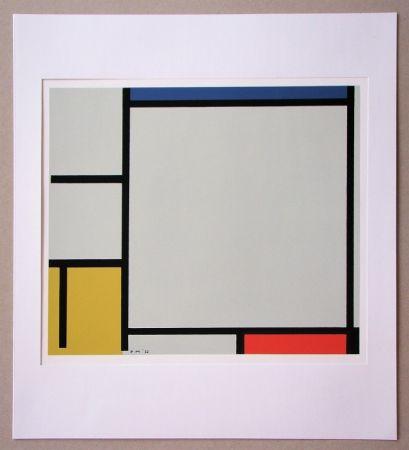 Сериграфия Mondrian - Compositie met rood, geel en blauw - 1922