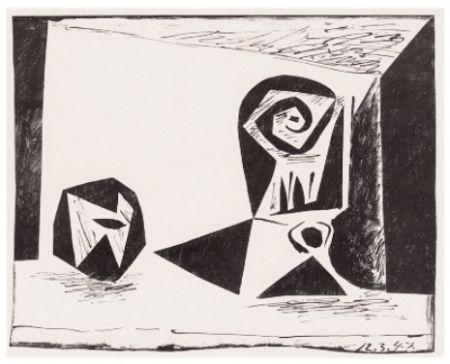 Литография Picasso - Composition Au Verre À Pied