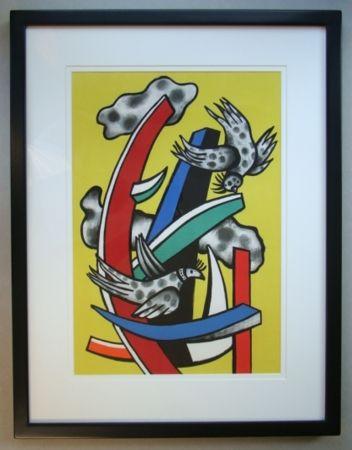 Литография Leger - Composition aux deux oiseaux sur fond jaune, 1955