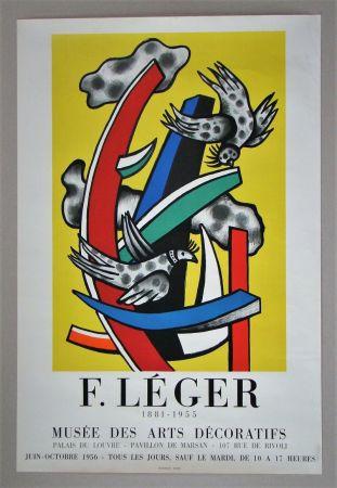 Афиша Leger - Composition aux deux oiseaux sur fond jaune, 1955