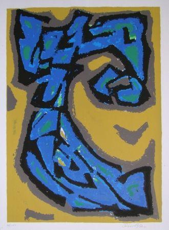 Литография Blass - Composition blau auf ocker