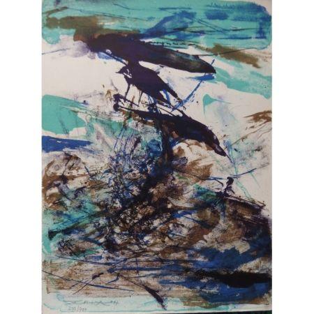 Литография Zao - Composition bleu et brune