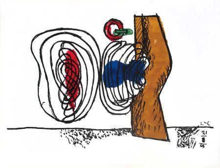 Литография Le Corbusier - Composition bleu et rouge
