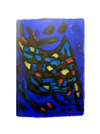 Литография Manessier - Composition Bleue Abstraite