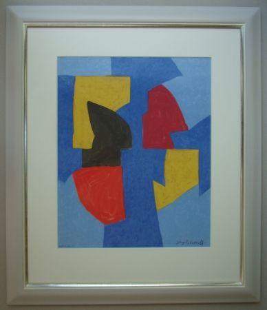 Литография Poliakoff - Composition bleue, rouge et jaune