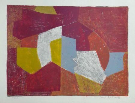 Литография Poliakoff - Composition Carmin, Brune, Jaune et Grise