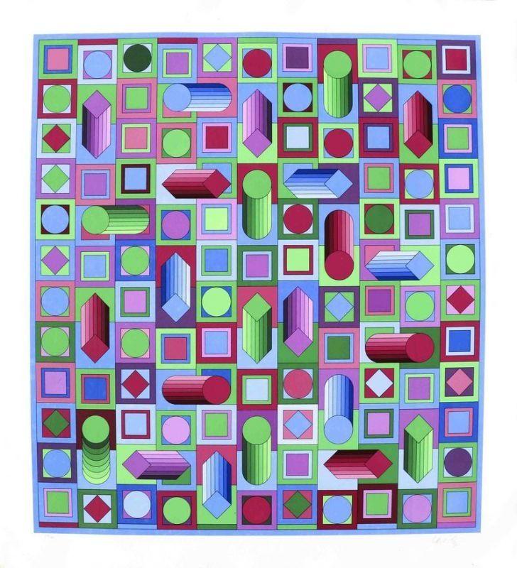 Сериграфия Vasarely - Composition cinétique