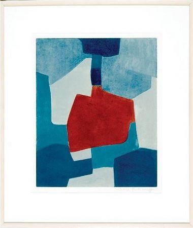 Акватинта Poliakoff - Composition en blue and rouge