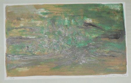Литография Zao - Composition en vert