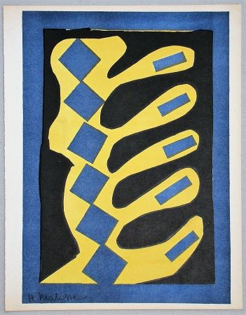 Литография Matisse - Composition jaune, bleu et noire, 1947