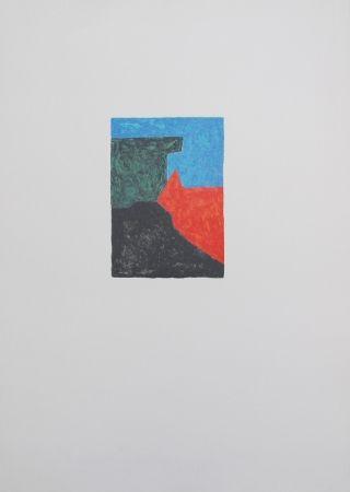 Литография Poliakoff - Composition noire, bleue et verte