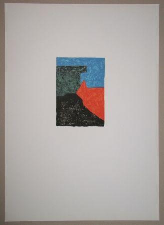 Литография Poliakoff - Composition Noire, Rouge, Bleue Et Verte