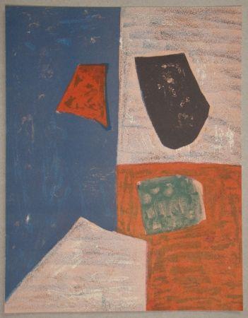 Литография Poliakoff - Composition rose, rouge et bleue