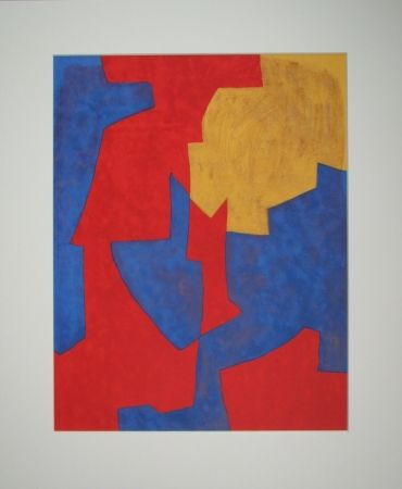 Литография Poliakoff - Composition rouge, bleue et jaune