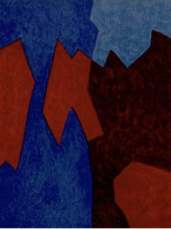 Литография Poliakoff - Composition rouge et bleu