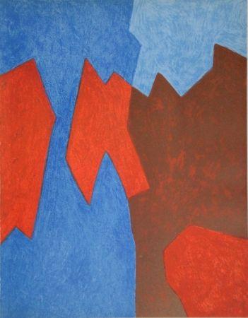 Литография Poliakoff - Composition rouge et bleue