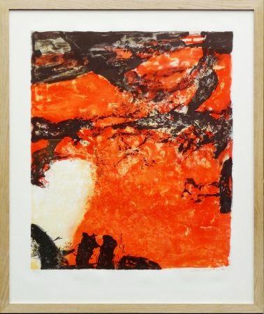 Литография Zao - Composition rouge et noir