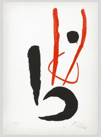 Литография Miró - Composition rouge et noire (Danseur / Dancing figure) 1952