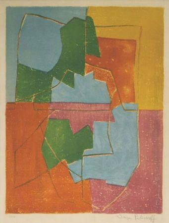 Литография Poliakoff - Composition Rouge Verte Bleue et Jaune n°12