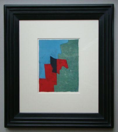 Литография Poliakoff - Composition rouge, verte et bleue