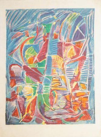 Литография Lanskoy - Composition sur fond bleu