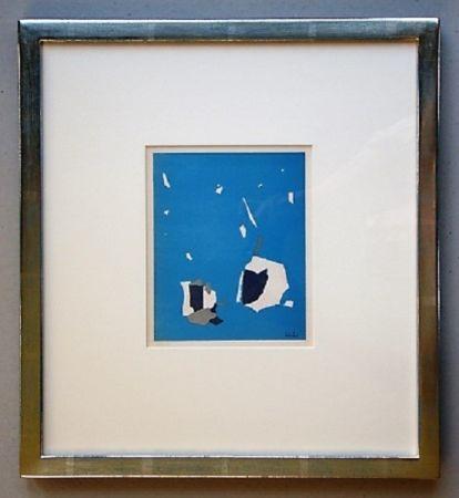 Литография De Stael - Composition sur fond bleu ciel