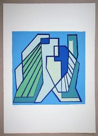 Литография Radice - Compositione astratta blu verde