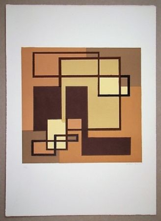 Литография Radice - Compositione astratta marrone