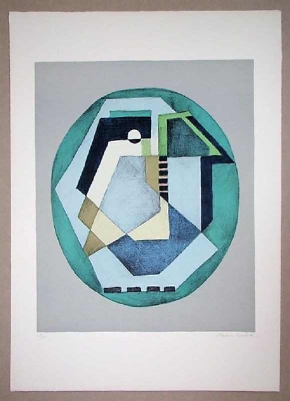 Литография Radice - Compositione astratta verde