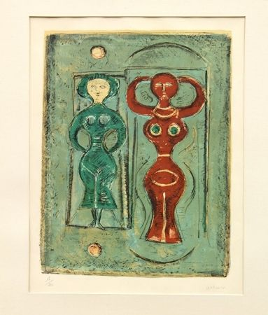Литография Campigli - Composizione con due figure