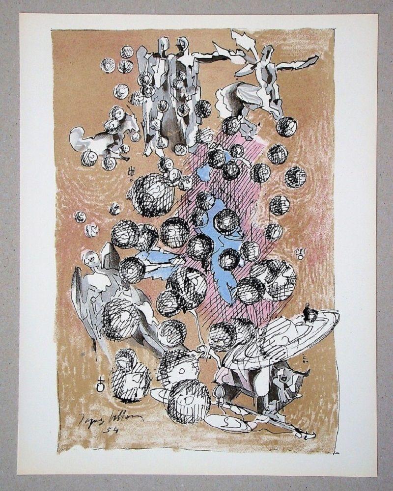 Литография Villon - Constellation planétaire, 1954